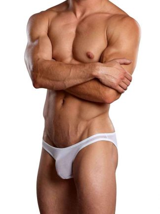 Euro Male Mesh Brazilian Pouch Bikini White