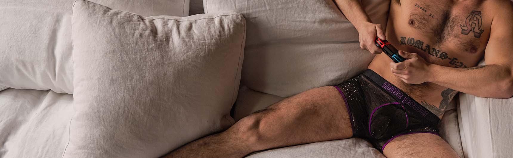 mens sexy sheer lingerie boxer brief underwear