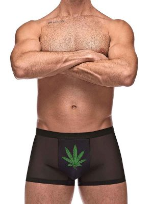 mens mesh short with a pot leaf on the pouch