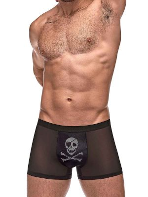 men's mesh trunk with a skull on the pouch